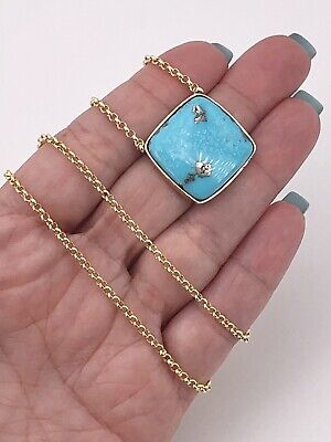 "Natural Persian Turquoise (21.2ct) & 14k Yellow Gold Bezel Necklace, 18.75"", New"