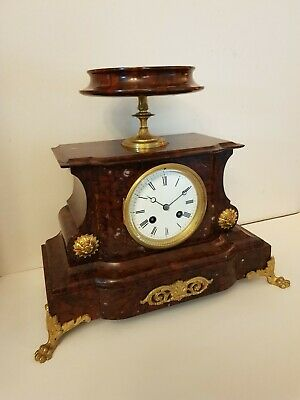 Antique French Red Marble Mantel Clock with top Dish, Marti movement