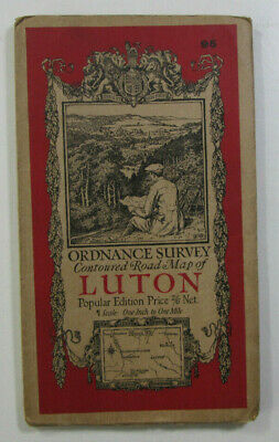 1928 Old Vintage OS Ordnance Survey one-inch Popular Edition Map 95 Luton