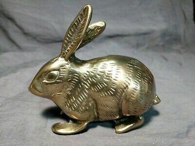 "Vintage Brass Jack Rabbit Long Ears Figurine 5"" decor figure metal paperweight"