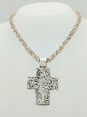 "Sterling Silver Decorative Cross Pendant with 20"" Byzantine Necklace"