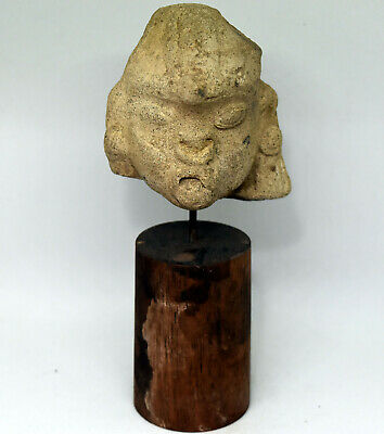 Ancient Authentic Pre-Columbian Carved Clay Face/Head #11