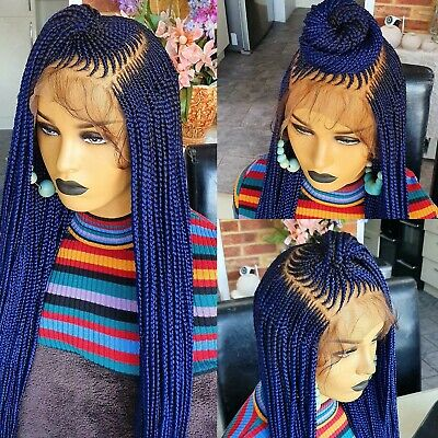 Braided Lace wig. Feedins Cornrow.Ket inspired.blue 13x6 frontal. Ready to ship