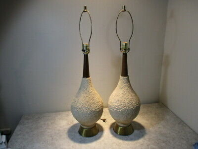 Vtg Mid-Century Modern Danish BOHO True Organic Form Ceramic Pottery Table Lamps
