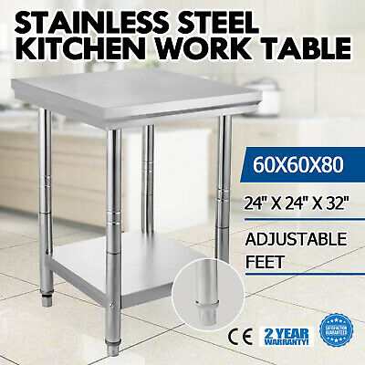 "New Stainless Steel Work Bench Food Prep Kitchen Table Top 60X60cm 24""X24"" AU"