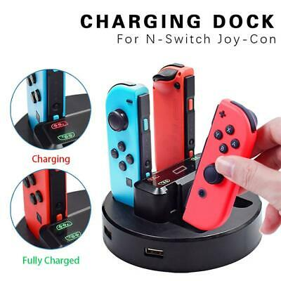 For Nintendo Switch Joy-con Controller 4 Port Charger Charging Dock Station+LED