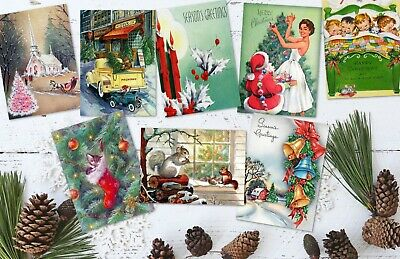 Set of 8 Vintage Retro Santa 50's/60's Style Christmas ATC Tags/Toppers