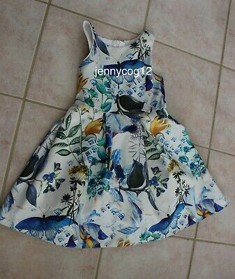 Next girls White/Blue Floral Butterfly Wedding Prom Party Dress 9 yrs