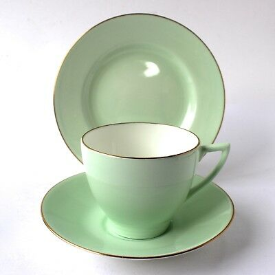 Vintage Minton Bone China Tea Cup Saucer & Side Plate Trio Pale Green Gold Rim