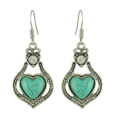 Vintage Turquoise Earrings Openwork Hearts and Diamonds Ancient Silver Earrings