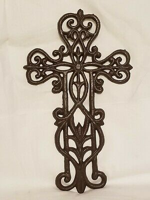 Cast Iron Cross Wall Hanging Decor Brown Rustic Christian Religious