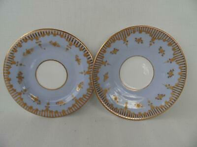 Antique Crescent China England hand painted blue & raised gold saucer & plate