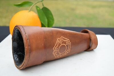 Vintage Genuine Leather Horn Drinking Vessel Carrier