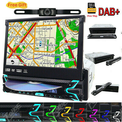 "Car 1-Din Dvd Cd Bluetooth Stereo 7"" Touch Screen Flip Out GPS Navigation DAB+SD"