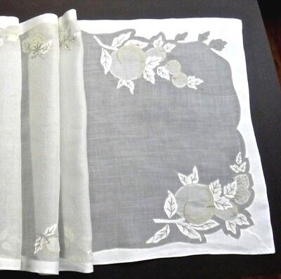 """Fabulous Madeira Embroidery Organdy Linen Table Runner 43"""" Fruits, Taupe VINTAGE"""