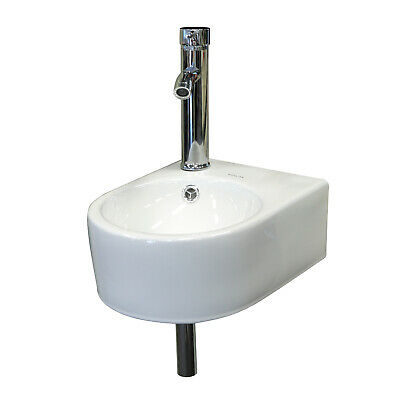 Small Wall Mount Bathroom Ceramic Porcelain Vessel Sink Faucet & Drain Set