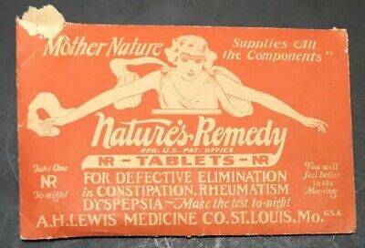 NATURES REMEDY quack medicine A H Lewis St Louis MO tablets Free Sample pouch