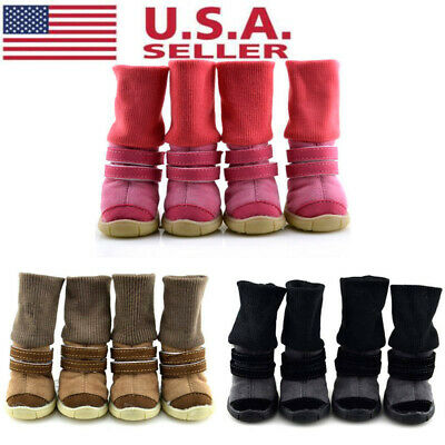 4Pcs Small Pet Dog Shoes Puppy Anti-slip Winter Warm Snow Boots Booties US