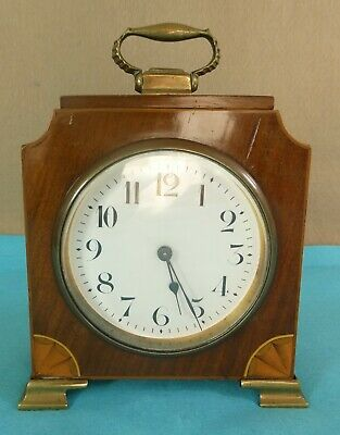 Late Victorian Edwardian Wood Brass Mantel Clock Inlay Marquetry Working C 1900