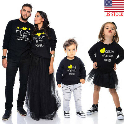 US Stock Kid Baby Boy Girl Matching Clothes Romper Bodysuit Tops T Shirt Outfits