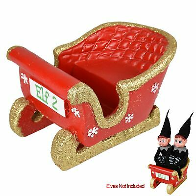 Naughty Twin Elf Sleigh Polystone Gift Xmas Decoration Elves Gift Fun New