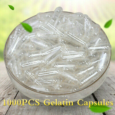 1000PCS Gelatin Empty Clear Capsules Self Fill Pharmaceutical Supplies 0#