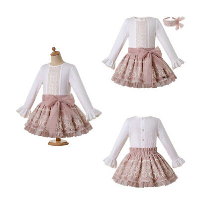 Spanish Girls Princess Outfits Lace Pleated Long Sleeve Clothes Set Party Formal