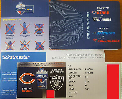 NFL London Bears V Raiders - 1 Ticket - Cat 2 Section 117 Row 6 Fantastic View