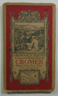 1928 Old Vintage OS Ordnance Survey One-Inch Popular Edition Map 58 Cromer