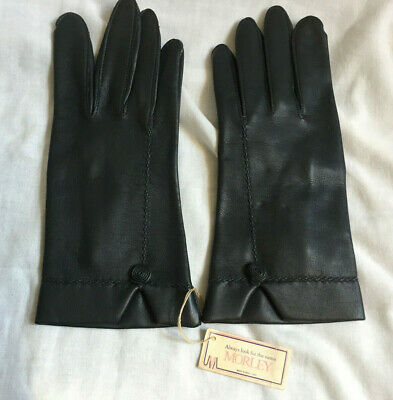 VINTAGE MORLEY Ladies Charco Vinyl Faux Leather Wrist Gloves Size 7 NEW WITH TAG