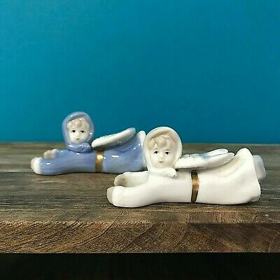 Vintage Pair Ceramic Angel Candle Huggers Retro Kitsch Collectible