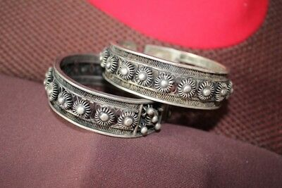 Tribal exotic chinese handmade Carving miao silver bracelet Pair SZ027