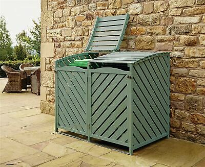 Wooden Double Wheelie Bin Store Outdoor Cover Recycling Storage Unit Hinged Lid