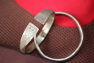 Tribal exotic chinese handmade Carving miao silver bracelet Pair SZ035