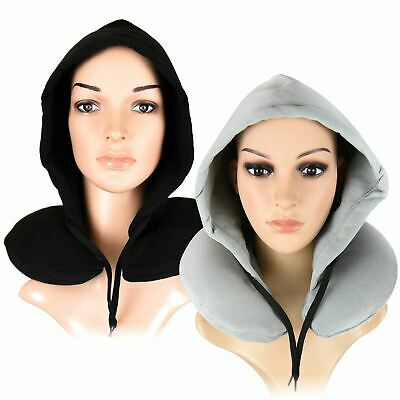 Inflatable Hooded Travel Neck Pillow Super Soft Warm Fleece Sleeping Aid New