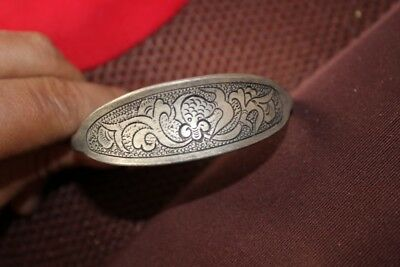 Tribal exotic chinese handmade miao silver Carved flower bracelet EH036