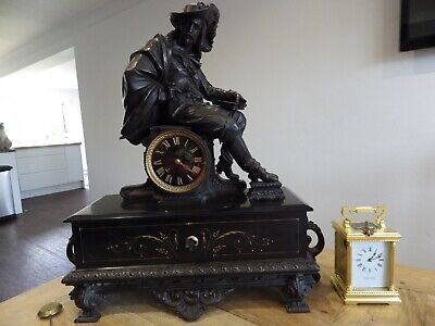 French Beautiful Large Slate Clock With A Stunning Bronzed Figurine Topper 1890s
