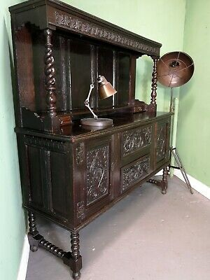 An Antique Victorian Solid Oak Sideboard Buffet ~Delivery Available~