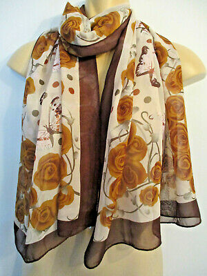 Retangle Long Vintage Scarf Brown Roses Floral Pink and Grey Butterflies
