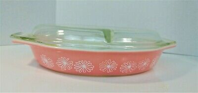 VINTAGE ~ Pyrex PINK DAISY Casserole Oval Divided Baking Dish w/ Lid