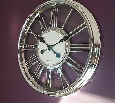 MAYFAIR LONDON 40CM round wall clock CLEAR Silver roman see through skeleton