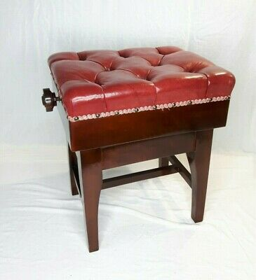 Superb Quality TOZER? Concert Adjustable Height Piano Stool Red Ox Blood Leather