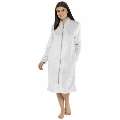 Womens/Ladies Soft Fleece Zip Front Robe Dressing Gown House Coat Grey Size 8-22