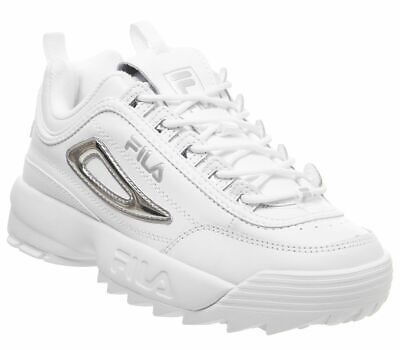 Womens Fila Disruptor Ii Trainers White White Silver Trainers Shoes