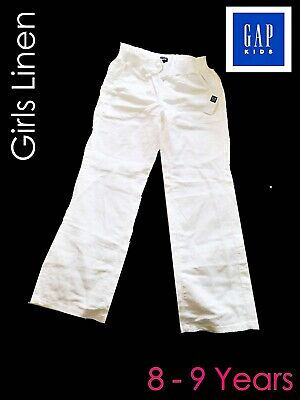 Girls Grey GAP Kids Linen Pants 8 to 8 Years White NEW w Tags Comfortable Style