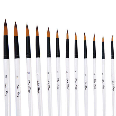 FM_ 12 Artist Paint Brushes Set Acrylic Oil Watercolour Painting Craft Art Model