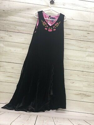 Limited Too Girls Black Velvet Embroidered Dress Size 14/3J