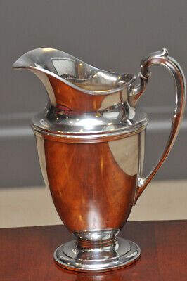 "Vintage Plymouth EPNS Electroplated Nickel Silver Water Pitcher 9-7/8"" tall"