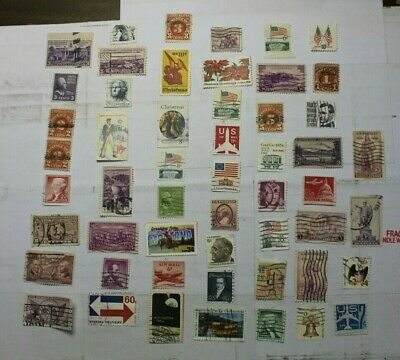 Vintage 50+ Used US Postage Stamps(May have Rare)Lot B270 (Free Shipping)