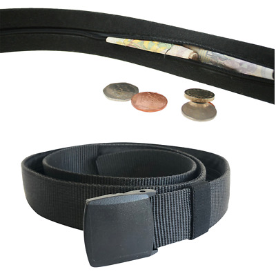Mens Nylon Belt with hidden zip and secret compartment for money on holiday
